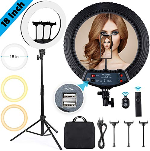 AMAZKER 18 inch LED Ring Light Touchable Dimmable Kit,55W Adjustable Color Temperature 3200 k to 5500 k Makeup Ring Lights with Carrying Bag,Bluetooth Shutter,Remote Control,Adjustable Phone Holders