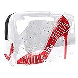 Bolsa de tocador de Viaje Tinta roja de Tacones Altos portátil PVC Bolsa de cosméticos de Vistoso de Organizador de Maquillaje con Cremallera Apto para niñas 18.5x7.5x13cm