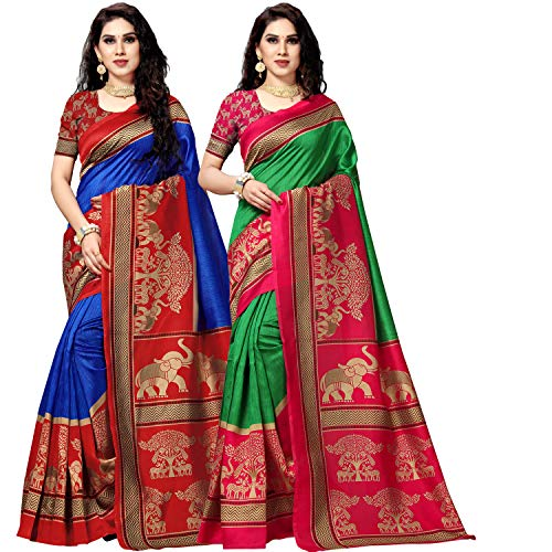 Anand Sarees Art Silk with Blouse Piece Saree (Combo 1_1590_3_Multicoloured_One Size)
