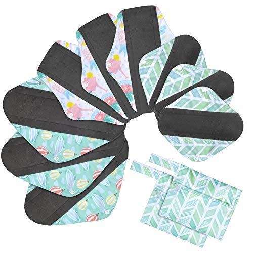 Viedouce Slipeinlagen Waschbar,Super Saugfähiges Bambus-Hygienetuch,Wiederverwendbare Binden,Damenbinden Pads mit 2 Wasserdichten Aufbewahrungsbeuteln (S * 3pcs + M *3pcs + L * 3pcs, color-03)