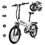 Vivi Bicicletas Electrica Plegable Adulto, 20'' Ebike Motor de 250W, Batería de Litio Extraíble de 36V 8Ah, 3 Modo de Trabajo, Profesional de 7 Velocidades (Blanco-20 Pulgadas)