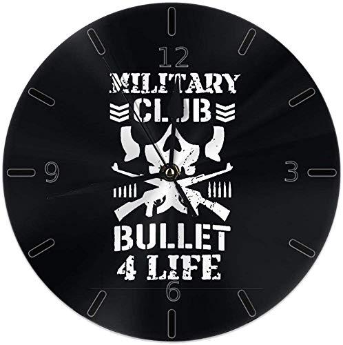 Kncsru Leise, Nicht tickende runde Wanduhren, Bullet Club Kenny Omega Grunz-Stiluhren, batteriebetriebene, analoge, leise Quarzuhr