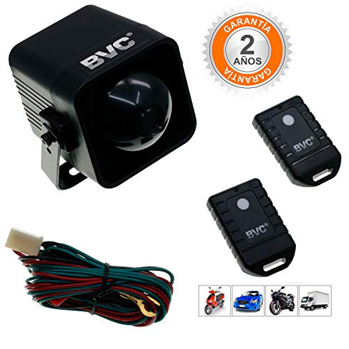 BVC JG-800 - Alarma para Coche y Moto - Alarma Universal Antirrobo Sirena con Mando a Distancia