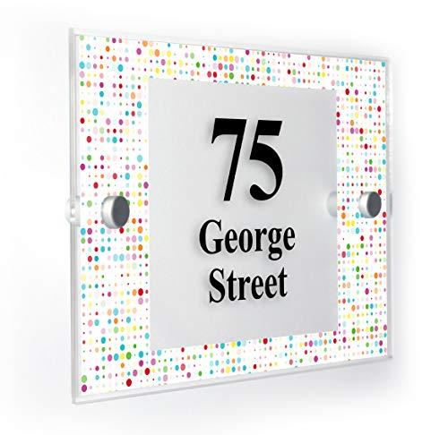 coloré Motif Cercles Plaque Numéro de Maison personnalisée Home Panneau résistant aux intempéries des Impression de Pointe