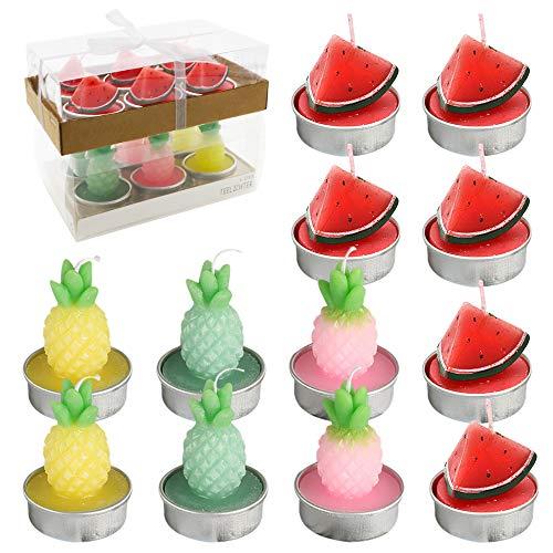 PUDSIRN - Set di 12 candele a forma di ananas e anguria, fatte a mano, delicate e artificiali, per feste, festival, compleanni, matrimoni, decorazioni per la casa