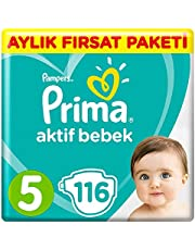 Prima Bebek Bezi Aktif Bebek, 5 Beden, 116 Adet, Junior Aylık Fırsat Paketi