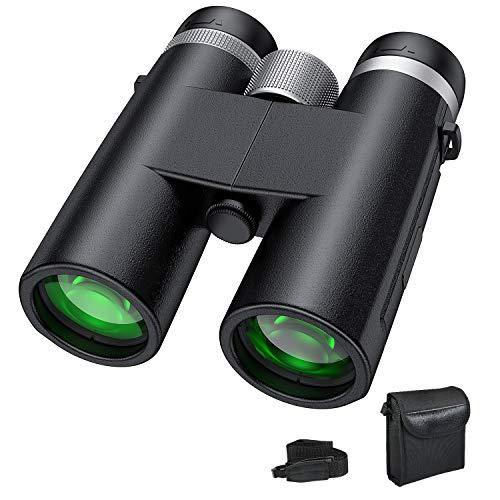 Prismáticos 10x42 QZT, Profesional Binoculares, Cuero Texturizado, Portátiles Prismas BaK4 FMC, Ideales para Observación de Aves,Detectando Animales Salvajes, Caza, Senderismo, Astronomía y Camping