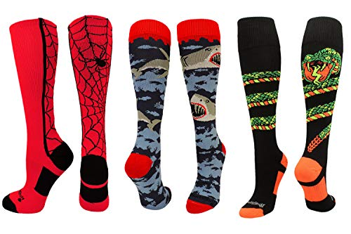 MadSportsStuff Shark Socks Spider Socks Snake Socks Combo Pack (3-Pack Multi, Small)