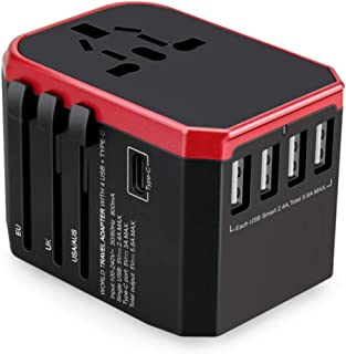 Universal Travel Adapter All In One with 4 Ultra-Fast USB Port and 1 Ultra-Fast USB Type C Port and Power Socket Internati...