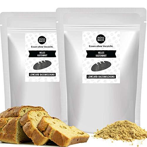 MITOBACK - Helles Kastenbrot Brotbackmischungen 2er Set á 108 g - Low Carb Brot - Eiweiß Brotbackmischung - Eiweißbrot Kohlenhydratarm, Glutenfrei, ohne Zucker und Mehl ideal für Diabetes und Zöliakie