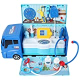 Adventure Toys Toy Medical Kit Pretend Play Doctor, Vet, Veterinary Station with 2 in 1 Truck Carrying Case for Kids