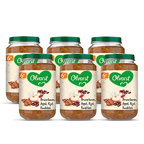 Olvarit Bruine Bonen Appel Rundvlees Rijst - babyhapje voor babys vanaf 6+ maanden - 6x200 gram babyvoeding in een maaltijdpotje