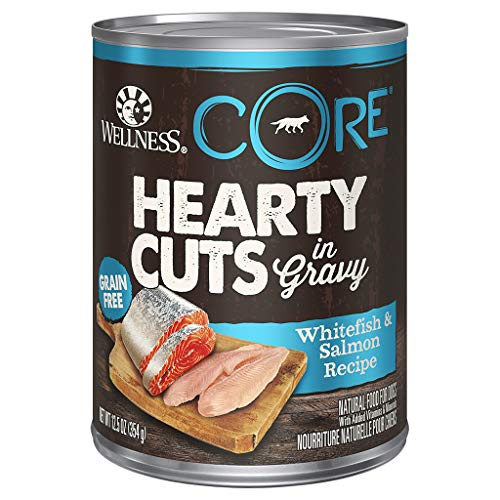 Wellness Natural Pet Food Core Hearty Cuts Natural Wet Grain Free Canned Dog Food, Whitefish & Salmon, 12.5-Ounce Can (Pack Of 12)