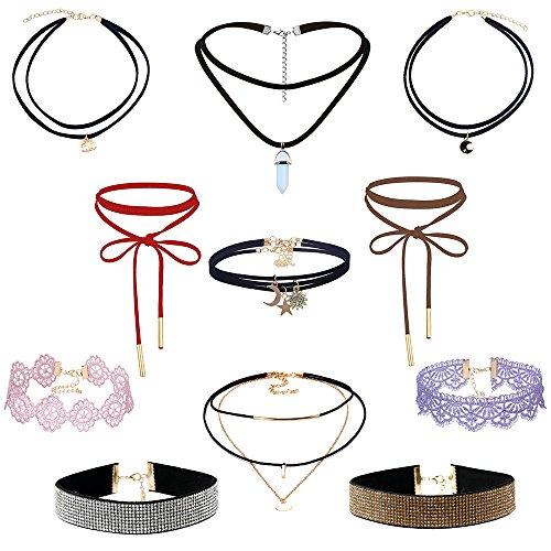 MingJun 9 pezzi vintage multistrato in pelle di velluto con strass set girocollo con ciondolo a catena oro collana per donne e ragazze adolescenti