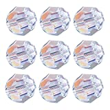 84pcs AB Crystal Round Beads - LONGWIN 8mm Vertical Hole Adabele Austrian Glass Round Ball Pendants Beads Charms for DIY Project Earring, Necklaces, Bracelets, Jewelry Making
