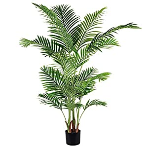 Silk Flower Arrangements Artiflr 5.2 Feet Artificial Areca Palm Plant Fake Palm Tree with 17 Trunks Faux Tree for Indoor Outdoor Modern Decoration Feaux Dypsis Lutescens Plants in Pot for Home Office