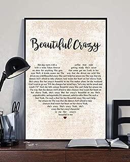 Luke Combs Beautiful Crazy Lyrics Heart Shape Portrait Unframed Satin Paper Poster Wall Decor