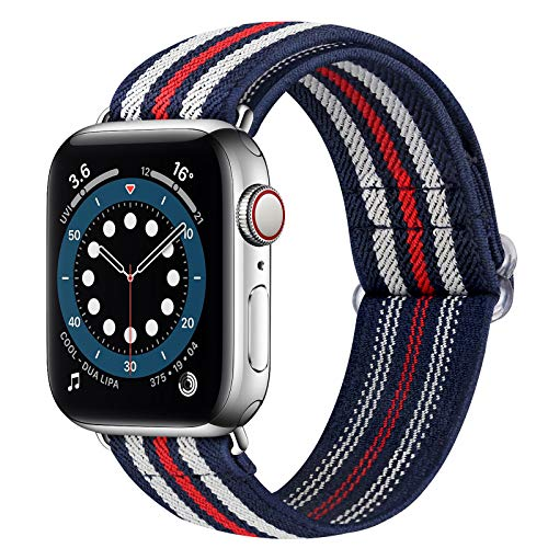 Runostrich Nylon Elastic Watch Band Compatible for Apple Watch 40mm 38mm, Stretchy Adjustable Sport Loop Replacement Strap for iwatch Series 1/2/3/4/5/6/SE (Blue-White-Red Stripe, 38mm/40mm)