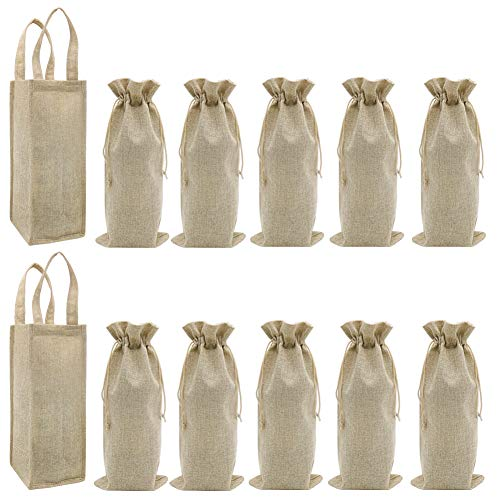 2 bolsas de regalo para 2 botellas y 10 bolsas de vino de arpillera con cordón, bolsa de transporte de vino de yute con asas, juego de bolsas de regalo para botella de vino de tela