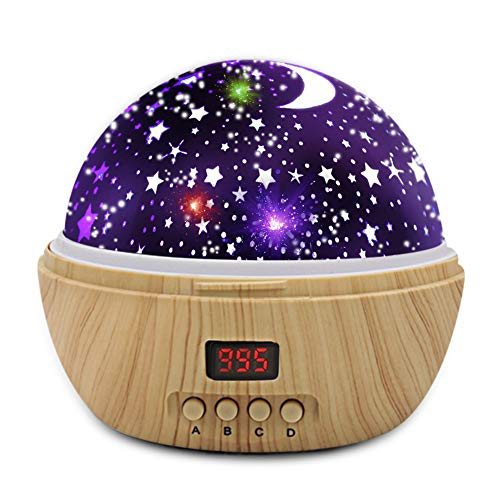 Night Light Star Moon Projection Lamp, Star Light Projector 360 Degree Rotating with Timer Auto Shut-Off for Kids Bedroom, 4 Led Bulbs with Multiple Colors (Wooden Grain)