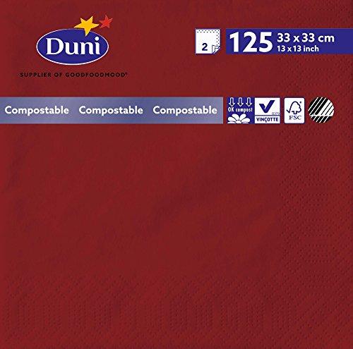 Duni 180381 2 plis Serviettes en papier, 33 cm x 33 cm, Bordeaux (lot de 2000)
