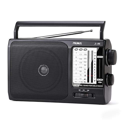 PRUNUS J-05 Portable Radio AM FM WB Transistor Radio Battery Operated by 3X Cell Batteries or AC Power for Household & Outdoor