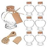 BENECREAT 8 Pack 60ml Tarros de Cristal en Forma de Corazón con Corcho, Etiquetas y Cuerdas para Dulces, Almacenamiento de Aperitivos de Especias, Decoración de Fiesta en Casa