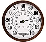 "12"" Indoor Outdoor Weather Thermometer, Garden Wall Thermometer for Patio, Wall Thermometer with Stainless Steel Enclosure, No Battery Needed Hanging Decorative Thermometer (Bronze)"