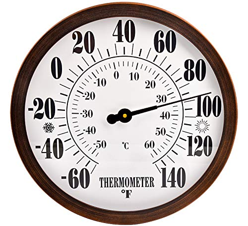 """Lirches 12"""" Indoor Outdoor Weather Thermometer, Garden Wall Thermometer for Patio, Wall Thermometer with Stainless Steel Enclosure, No Battery Needed Hanging Decorative Thermometer (Bronze)"""