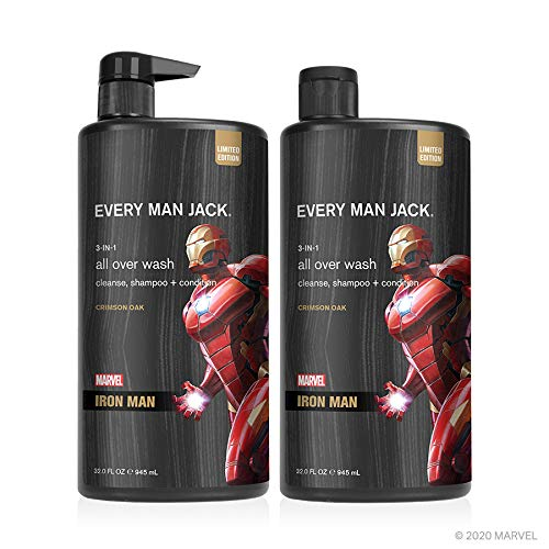 Every Man Jack All Over Wash - Marvel Iron Man | 32-ounce Twin Pack - 2 Bottles Included | Naturally Derived, Parabens-free, Pthalate-free, Dye-free, and Certified Cruelty Free
