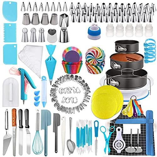 Equipo de decoración de pasteles, herramientas seguras para decorar pasteles, 458 piezas de herramientas de bricolaje para pasteles, seguro para la fabricación de pasteles familiares, adecuado tanto