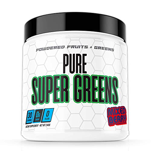 Pure Super Greens Powder Supplement - Made from Real Fruit and Greens - Mixed Berry Flavor - 30 Servings - Keto Friendly Organic Greens Superfood Probiotic