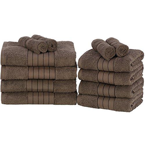 Dreamscene 100% Egipcio algodón Suave baño Mano Toallas de Cara de Bale Set, Aqua, Juego de 12, algodón, Chocolate, 29 x 30 x 26 cm
