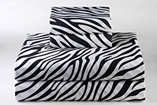 600-Thread-Count 100% Cotton Bed Sheets & Pillowcases Set - 4 Pc Pure Zebra Print Long-Staple Cotton King Sheet for Bed, Fits Mattress Upto 9'' Deep Pocket, Soft & Silky Sateen Weave