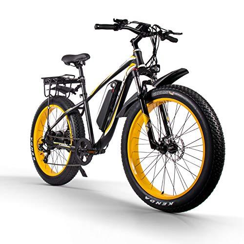 Bici elettrica per adulti M980 26 pollici Mountain bike 1000W 48V 17Ah Snow Fat Tire bikes Shimano 7 velocità (Nero e giallo)
