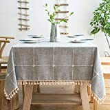 Oubonun Rustic Lattice Tablecloth Cotton Linen Grey Rectangle Table Cloths for Kitchen Dining, Party, Holiday, Christmas, Buffet, 55'x120'