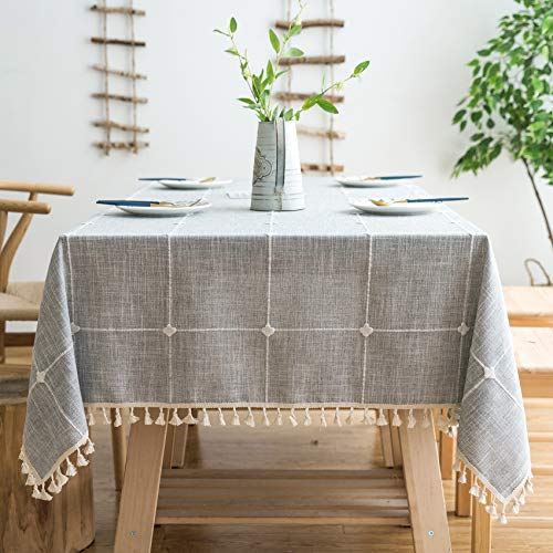 Oubonun Rustic Lattice Tablecloth Cotton Linen Grey Rectangle Table Cloths for Kitchen Dining, Party, Holiday, Christmas, Buffet, 55'x86'