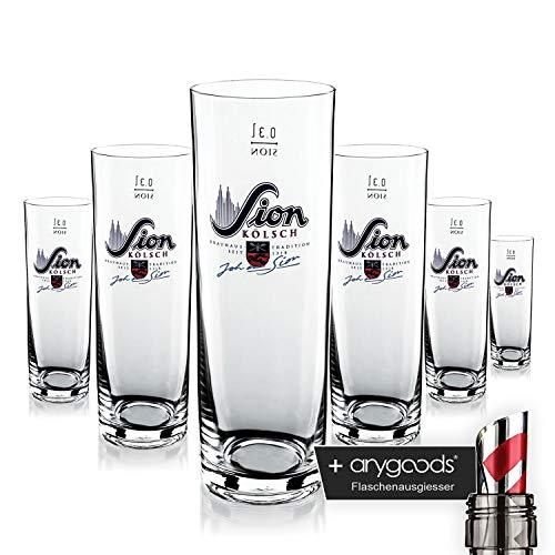 6 x Sion Kölsch Glas Gläser 0,3l Stange Bierglas Gastro Bar Deko NEU + anygoods Flaschenausgiesser