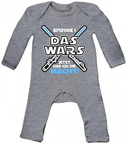 Geschenk zur Geburt Baby Strampler Langarm Schlafanzug Jungen Mädchen Junge - Das Wars jetzt hab ich die Macht, Größe: 6-12 Monate,Heather Grey Melange