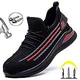 Meng Zapatos De Seguridad Hombre, Zapatillas De Trabajo con Punta De Acero Ultraligero Transpirables (Color : Red, Size : 40)