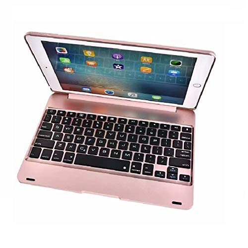 QiuKui Tab Cover For iPad Air 1 9.7'', ABS Keyboard Case Bluetooth Wireless Keyboard Case for iPad Air A1474 A1475 (Color : Rose Gold)