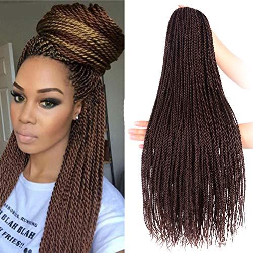 24 Inch Twist Bradis Hair 30 Strands Crochet Hair For Black Women 100 Gram/Pack Senegalese Twist Hair Crochet Braids Hairstyles Crochet Twist Synthetic Braiding Hair Extensions (6 Packs/Lot,Dark Brown)