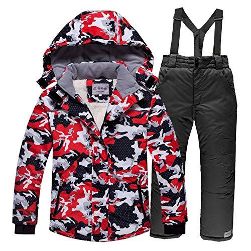 YFCH Kinder Jungen/Mädchen Skifahren 2 Teilig Schneeanzug Skianzug(Skijacke mit abnehmarer Kapuze+ Skihose mit abnehmbarem Träger), Schwarz-Rot Jacke+ Schwarz Trägerhose, 152/158(Label:16)