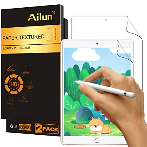 Ailun Paperfeel Screen Protector Compatible for New iPad 8,iPad 7 (10.2-Inch, 2020&2019 Model, 8th&7th Generation) [2Pack] Draw and Sketch Like on Paperfeel Anti Glare Less Reflection Case Friendly