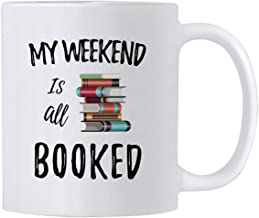 Casitika Reading Coffee Mug. My Weekend Is All Booked 11 oz Cup. Gift Idea for Teachers, Librarian or Book Nerd. Funny Library Quote Mugs.