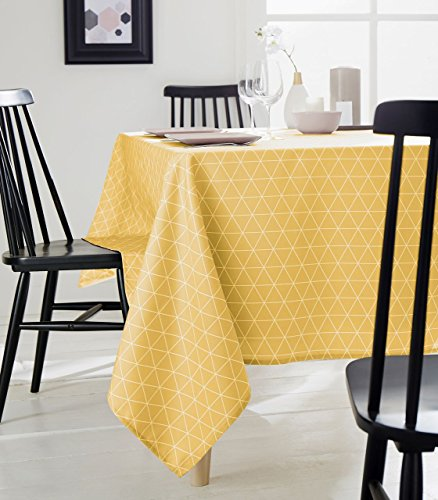 Tradilinge ~ Nappe Paco Maïs Polyester Motifs Triangles Jaunes 150x300