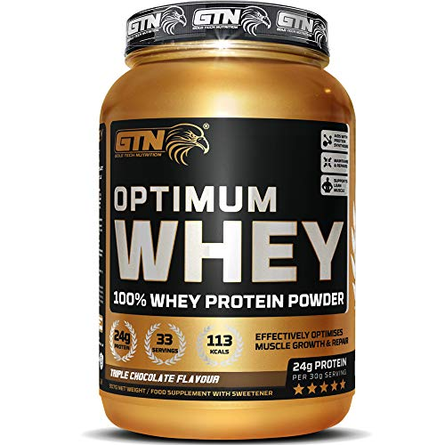 GTN - Optimum WHEY Protein | Gold Tech Nutrition Optimum Whey Protein Powder Muscle Building Supplements with Glutamine and Amino Acids (Triple Chocolate, 907g)
