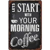 オリジナルのレトロなデザインブリキメタルのロゴウォールアートは、カフェ/キッチン/コーヒーコーナー/コーヒーポットのようにデザインされた厚いブリキ板印刷ポスターウォールで、あなたのモバイルコーヒーと一緒に始めましょう