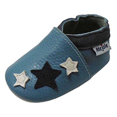 Mejale Chaussons Enfant Bébé en Cuir Doux-Chaussons Cuir Souple-Chaussures Premiers Pas(Bleu Ciel, 12-18 Mois,L)