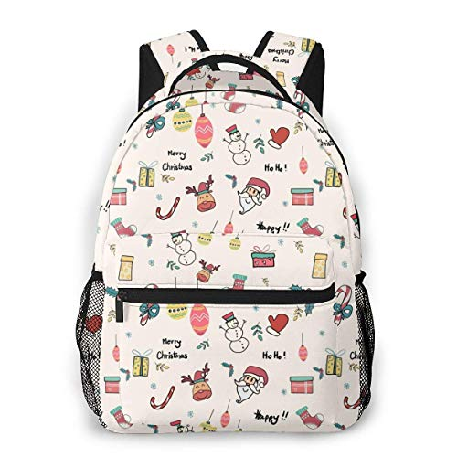 Lawenp Fashion Unisex Backpack Doodle Christmas Icons Seamless Bookbag Lightweight Laptop Bag for School Travel Outdoor Camping